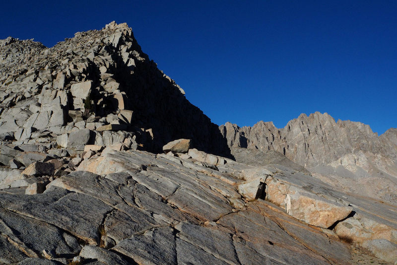 Looking back at the crest from Knapsack Col at the end of a long day. Camped down in the meadows to the north and not that far from the trail to Bishop Pass - Sept 2018