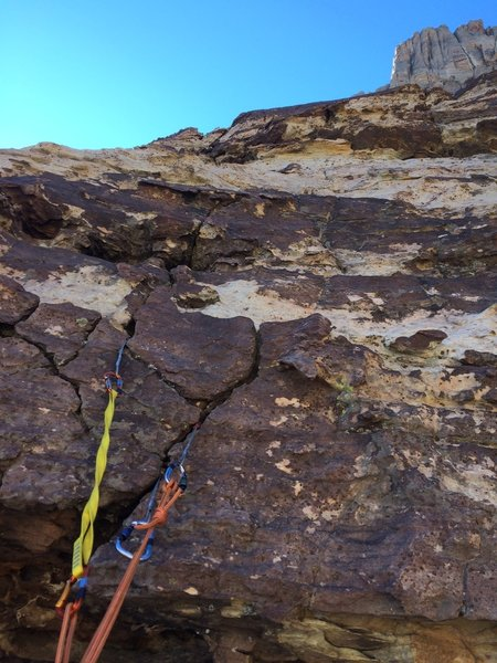 Gear anchor on P2. This was on the face above the big ledge.