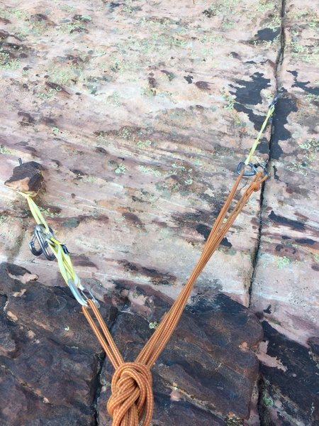 Hanging belay at the top of P6. There is a huge chicken head and a nice vertical crack for micros on the right side of the face about 60 ft. below hand crack on P7.