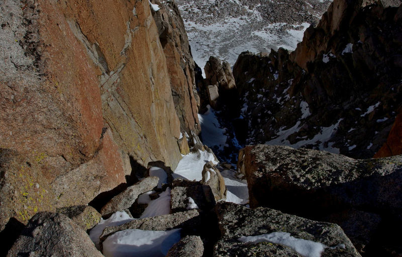 Looking down a section of the complex North Face of Langley - May 2013