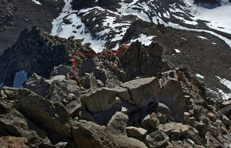 Not as steep as it looks. Approx line of the descent I took as seen from near the top of Winchell - June 2013