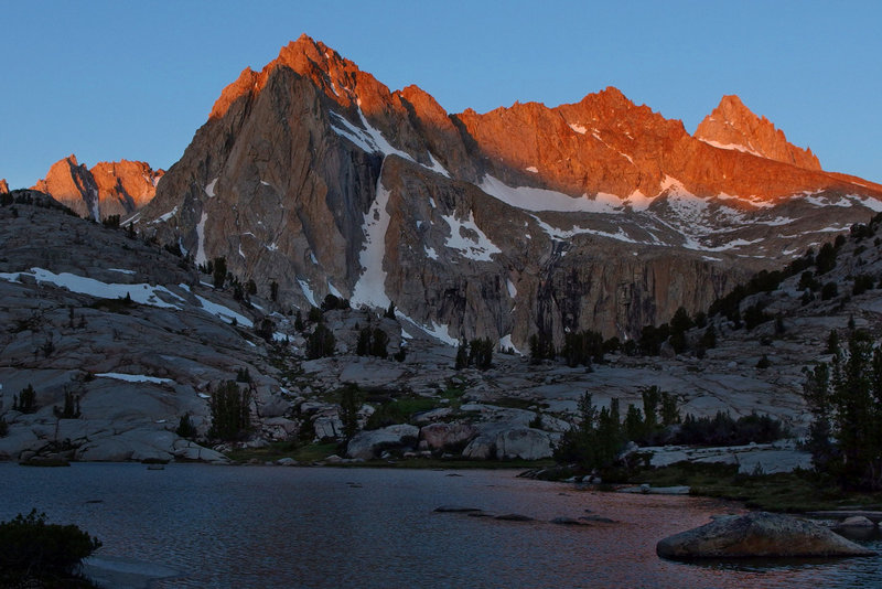 Sunrise from Sailor Lake: Clyde Spires, Picture Peak and Haeckel - June 2013