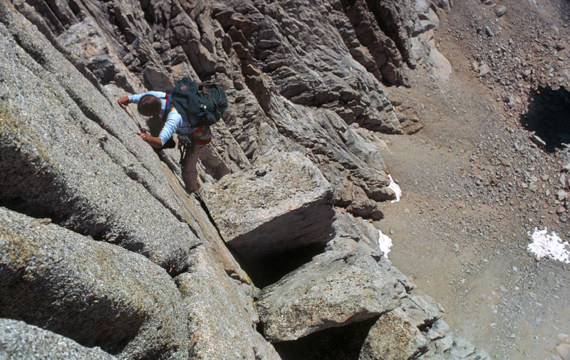 Mary Erdei pretty high up on the SE Buttress of the Cleaver  - Sept 1979