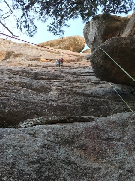 John on come and get your love.  He went right at the crux making it 5.9.  He's 11 and a little short for the crux move