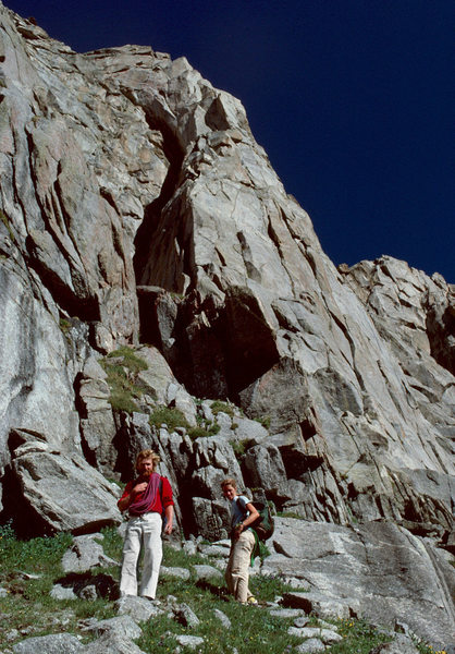Mark Whiton and Mary Erdei at the base of the West Pillar of Bollinger after our attempt in August 1979