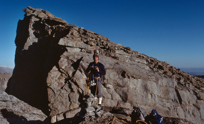 Gustavo Brillembourg at the top of Lost Temple Spire in late August 1983