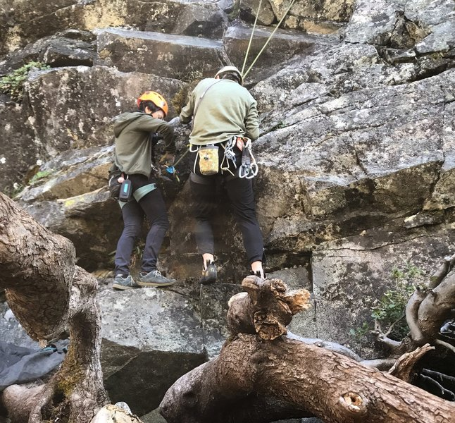 """Don't mess around without a 70 meter rope! Knot to knot on the ledge above ground to get outta it if you do the """"extension"""" part. Not easy to throw a person on second/toprope, even with taking out most of the draws on the way down, lol."""