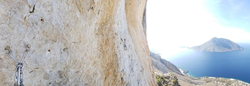 A View From the chains of Il Movimiento Sexi.  Most of the moderate routes also end here at the start of that wall.