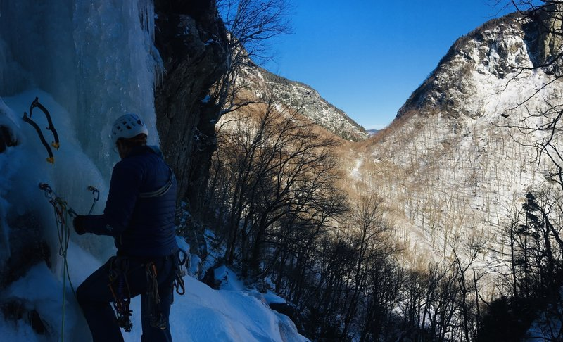 Keese at belay before center finish