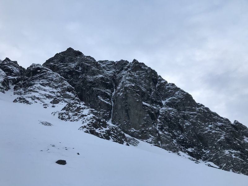 N. couloir lower pitches seen from the NE