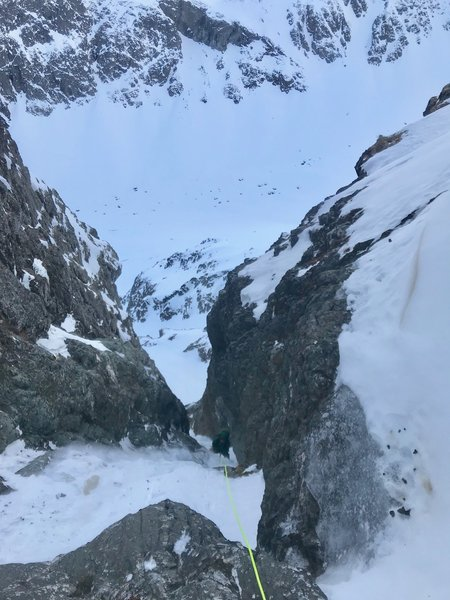 Forrest Voss on 2nd or 3rd pitch of the N. Couloir