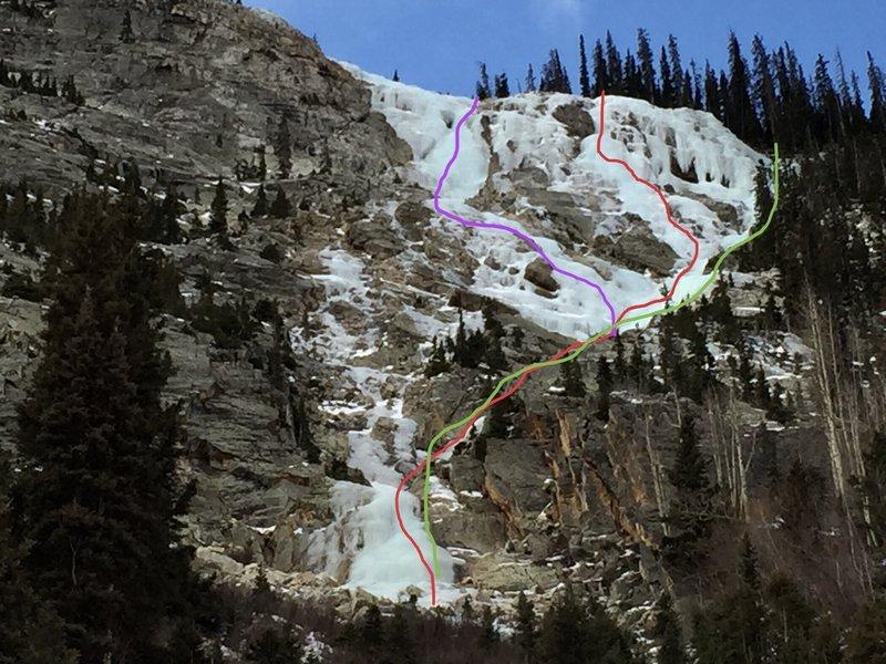 Electric Avenue (red 2017 FA, green 2017 ascent/rap route, purple 2019 ascent).