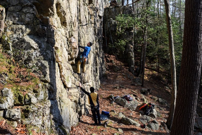 Ken getting started on a trad line Upper Wall left side