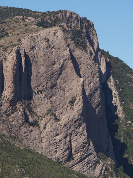 Telephoto shot of the northern end of the East Face (shot from near the base of Mallo Pison)
