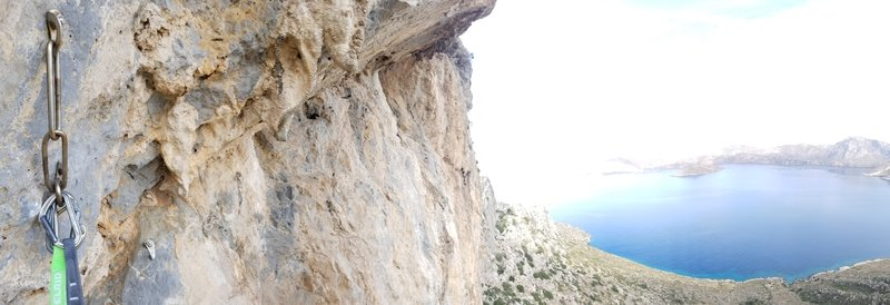 Stone Free, like most rats at the crag enjoys a quick clip anchor and fantastic view.