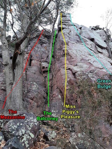 Mezzanine area climbs
