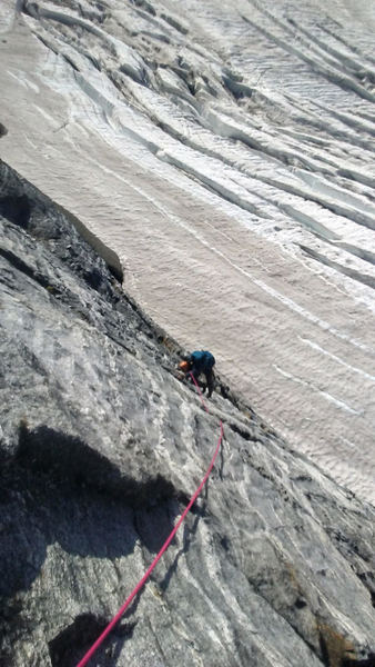Juggy metamorphic texture at the top of pitch one.