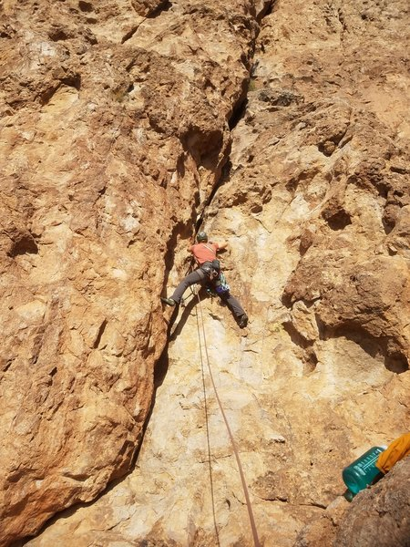Starting up the crack variation of pitch four.