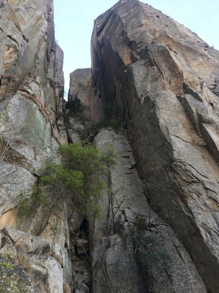 The whole route as seen from the ground, taking the left-facing corner to the final step beneath the top of the pinnacle.