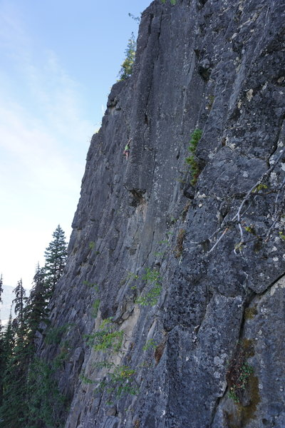 Weaving through roofs below the crux