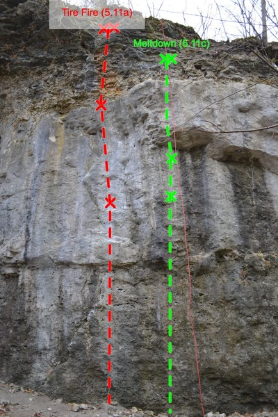 Tire Fire (5.11a) (Left) and Meltdown (5.11c) (Right)
