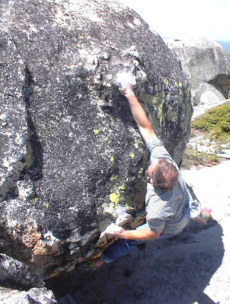 Mike A. having fun bouldering at the Shaver Lake area.
