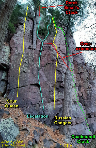 Escalation and nearby routes. This shows the left finish of Coatimundi. The right finish of Coatimundi traverses right (out of view) and joins Grand Inquisitor.  The lower Coatimundi Crack is partially obscured.