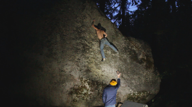 Jake Love getting set up for the committing toss to the lip of Snake Eyes (v8).