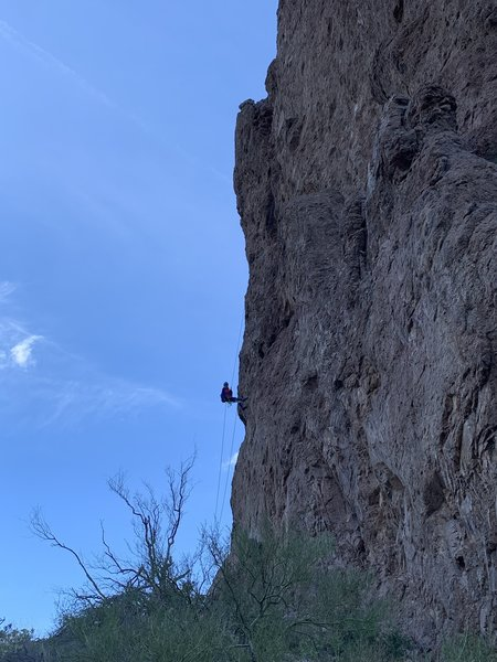 Rappeling down.
