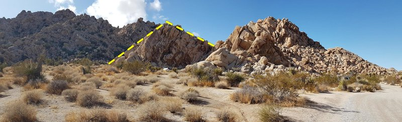Apparition rock (yellow) and neighbors, taken from Indian Cove Rd W, a little SE of the bathroom (34.092777, -116.163055)