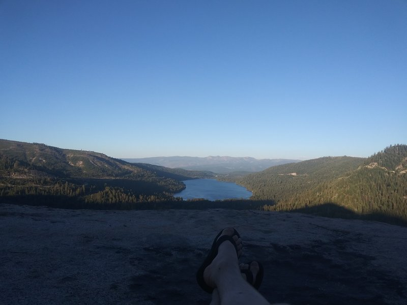 Watching the sun set over Donner Lake is a highly recommended activity after an evening at Star Wall