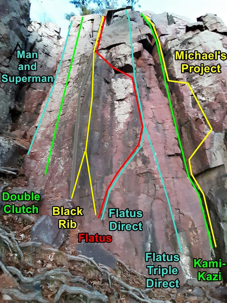 routes on Many Pines SW face - left side
