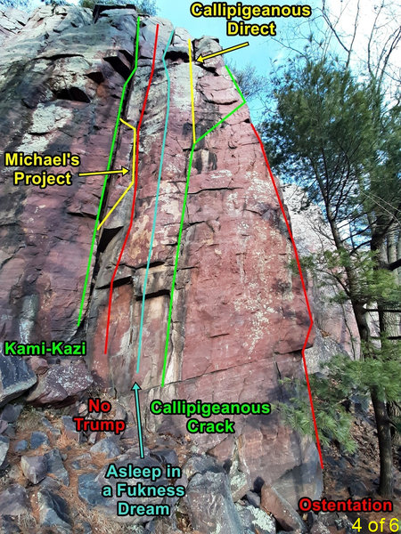 routes on SW face of Many Pines - right side
