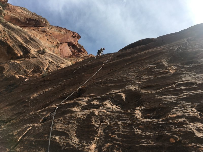 JJ on belay at the top of Pitch 4