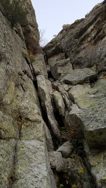 Looking up at 6th pitch (right side of gendarme). Climb from 11/9/19