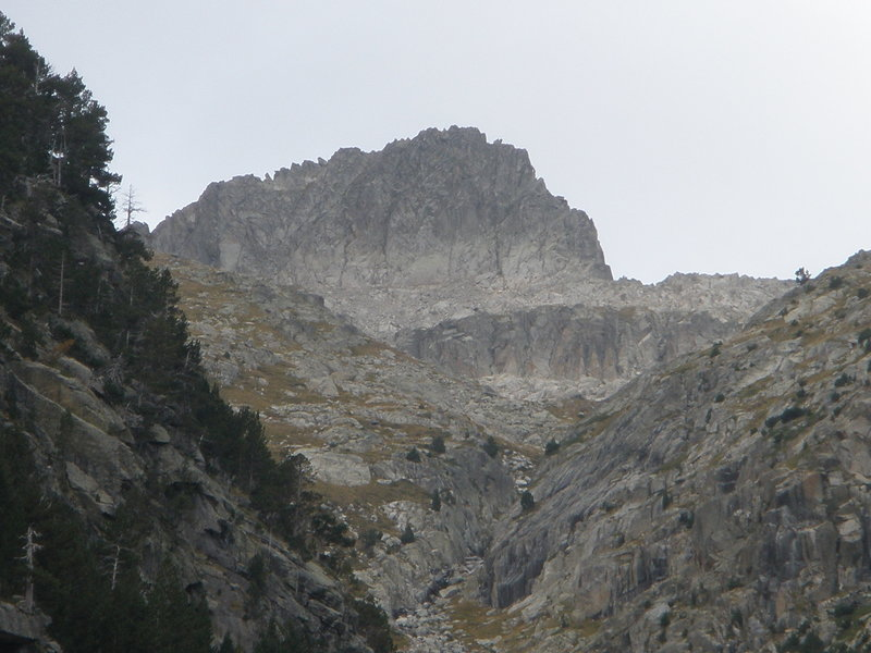 Not sure which peak this is...but this is typical of what you see looking up to the ridgeline from the cirque.