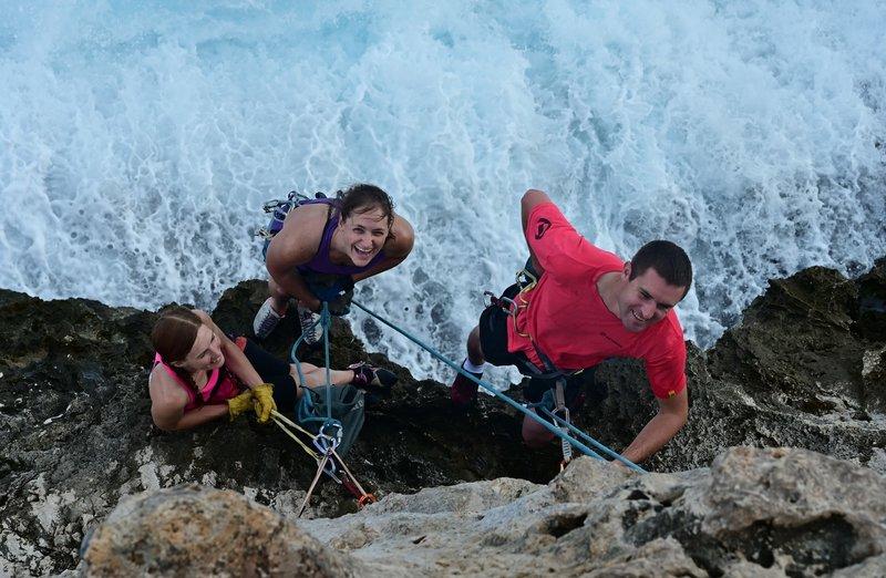 Belay anchor on Point Break (10b).  Photo by Jim Lawyer