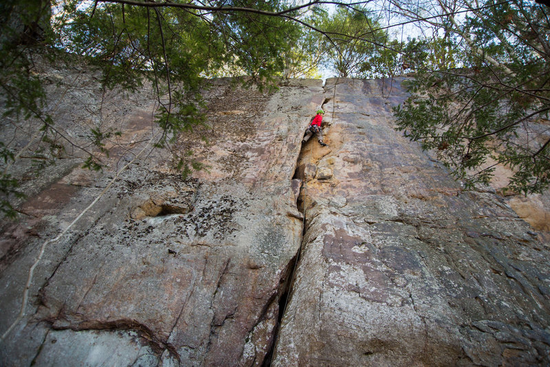 At the crux on Happy Hands. Photo by JH.