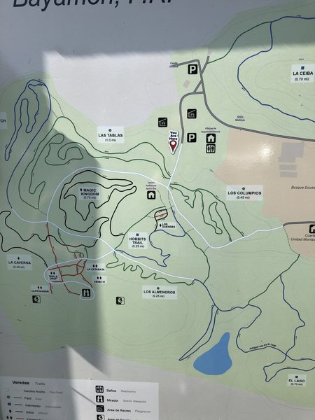 Trail map for the park. Climbing symbols show where the cliffs are in the bottom left of the map.