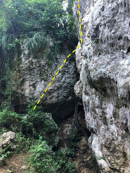 Starts on the boulder and moves onto the main wall