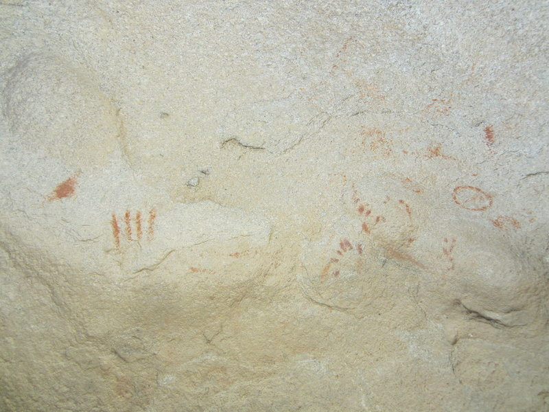 Pictographs in the alcove.