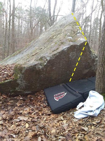 Back side of pyramid boulder