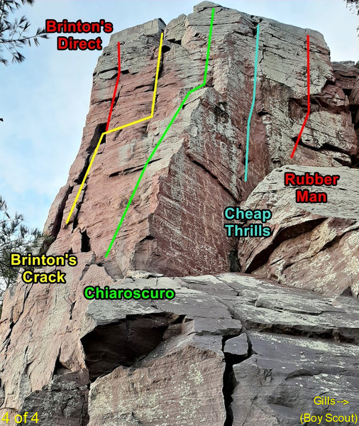 Brinton's Buttress right side. There's lots of ways to get from the ground to where the meaty part of these routes begin. For example, to get to Brinton's Crack, one book says scramble 20 ft up slab and another says climb left facing corner.