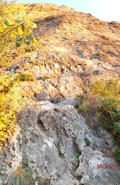 Mouria starts with a nice moderate pitch located near where the approach trail intersects the massive cliff face.