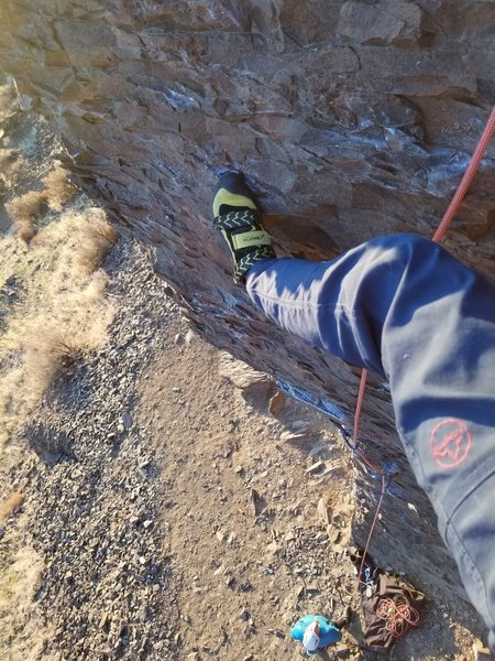 Not a great shot of the route, other than to show the pretty severe overhang of the route, as seen from the chains.