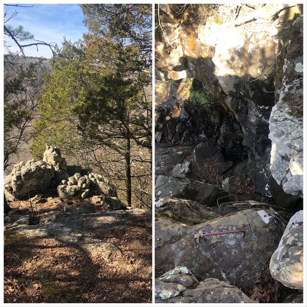 The left Image is the Climb Out viewed from the upper trail entrance. Walk towards the bluff and find the Climb Out rings to your right. You'll enter the Natural Disaster area.
