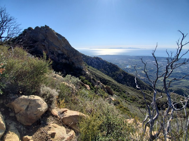 View from ridge approached from the La Cumbre side. What you see is the back side of Cathedral Peak and an amazing view!
