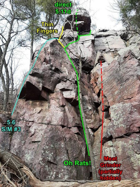 """Oh Rats! area. I noticed that Swartling/Mayer 3rd ed. says route #3 starts """"left of the corner"""", and diagram 4W on page 235 shows it there, too. I don't think it gets climbed much because the Oh Rats! route to the 2nd ledge is more interesting."""