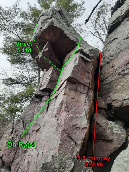 Standing near the top of the Meat Grinder offers a nice view of the top of Oh Rats!. The 5.3 climbing of Meat Grinder actually stops at this level but Swartling/Mayer #6 is a 5.5 continuation to the top in this narrow chimney.