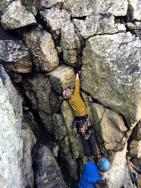 Placing gear before the crux.